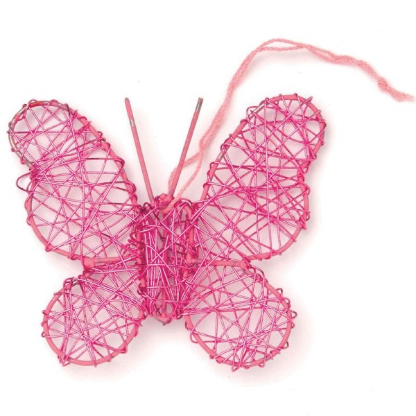 Papillon en fil de fer moyen Rose 7,5 cm - Photo n°1