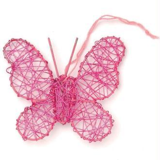 Papillon en fil de fer moyen Rose 7,5 cm