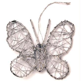 Papillon en fil de fer moyen Argenté 7,5 cm