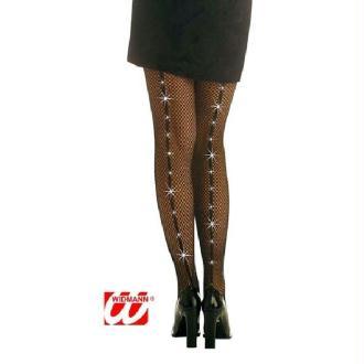 Collant résille noire + bande strass - Taille M/L