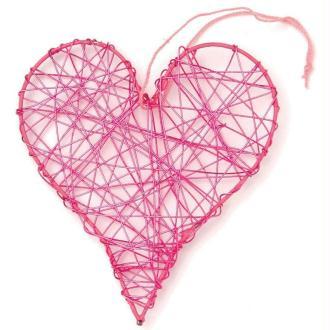 Coeur en fil de fer moyen Rose 8 cm