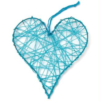 Coeur en fil de fer moyen Turquoise 8 cm