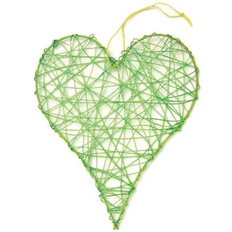 Coeur en fil de fer moyen Vert 8 cm