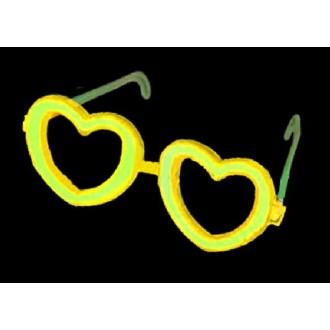 Lunettes cœur fluo jaune