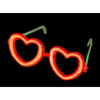 Lunettes cœur rouge fluo