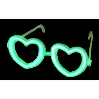 Lunettes coeur vert fluo