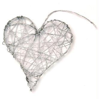 Coeur en fil de fer moyen Argent 8 cm