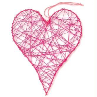 Coeur en fil de fer grand Rose 10 cm