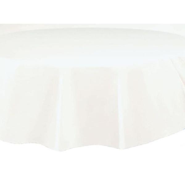 Nappe ronde blanche plastique 210 cm - Photo n°1