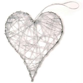 Coeur en fil de fer grand Argent 10 cm
