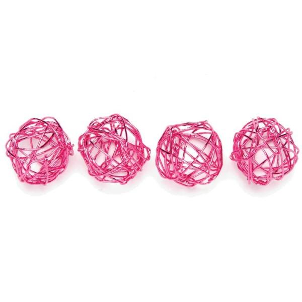 Boule en fil de fer petite Rose 1,5 cm - Lot de 18 - Photo n°1