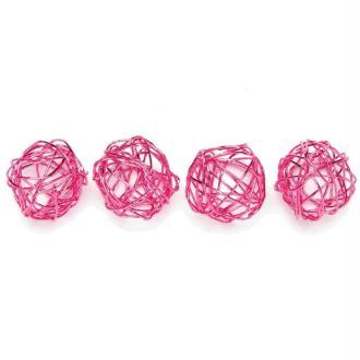 Boule en fil de fer petite Rose 1,5 cm - Lot de 18