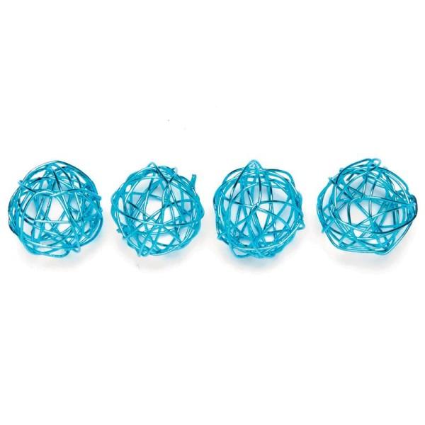 Boule en fil de fer petite Turquoise 1,5 cm - Lot de 18 - Photo n°1