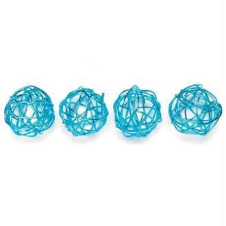 Boule en fil de fer petite Turquoise 1,5 cm - Lot de 18