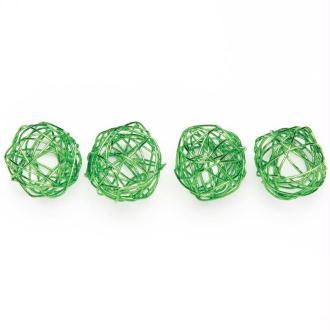 Boule en fil de fer petite Vert 1,5 cm - Lot de 18