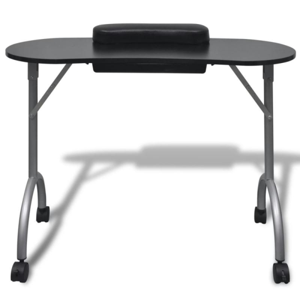 Table de manucure pliante noire avec roulettes - Photo n°2