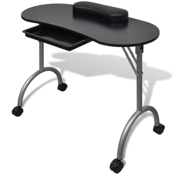 Table de manucure pliante noire avec roulettes - Photo n°1