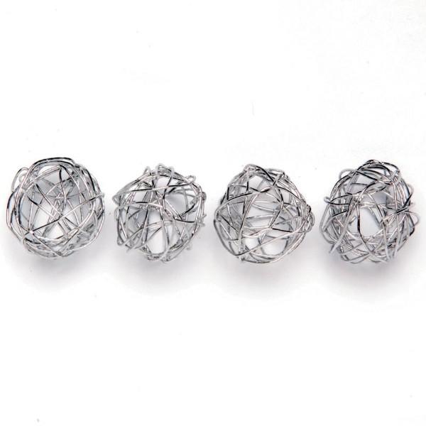 Boule en fil de fer petite Argent 1,5 cm - Lot de 18 - Photo n°1