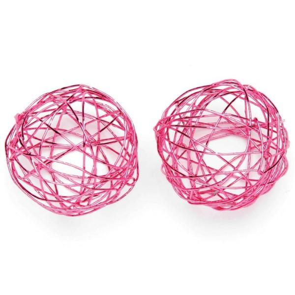 Boule en fil de fer moyenne Rose 3 cm - Lot de 6 - Photo n°1