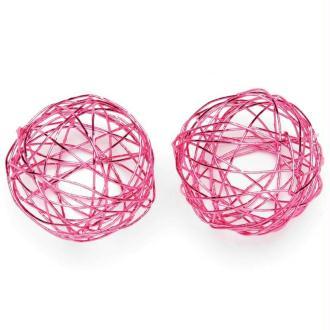 Boule en fil de fer moyenne Rose 3 cm - Lot de 6