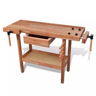 Etabli de menuisier en bois avec tiroir et étaux