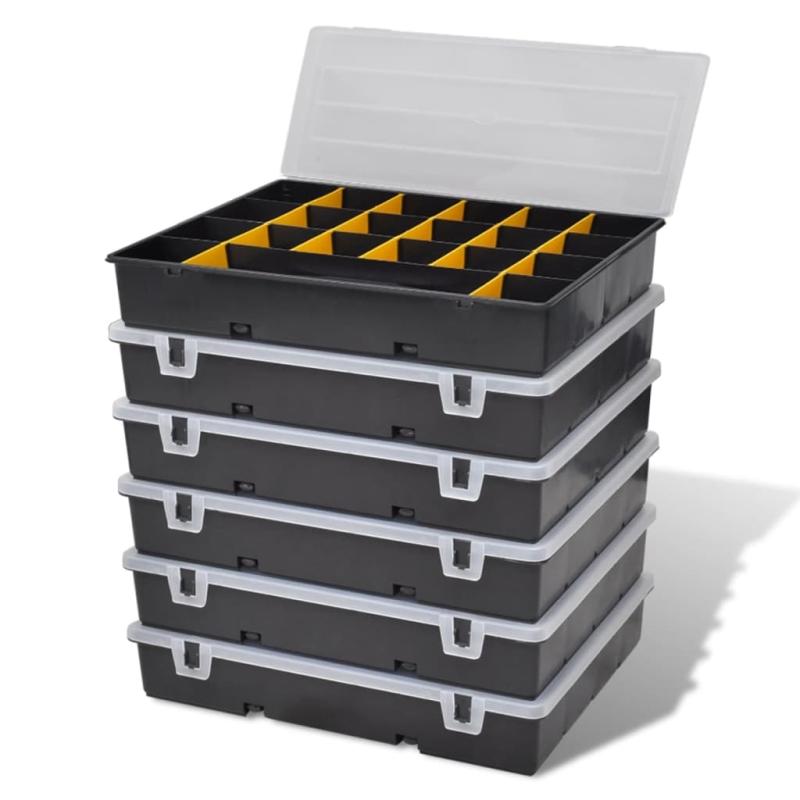 Set de 6 malettes de rangement avec compartiments bo te for Accessoire de rangement de cuisine