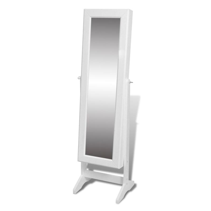 Armoire bijoux rangement miroir meuble chambre blanc for Coffre a bijou miroir