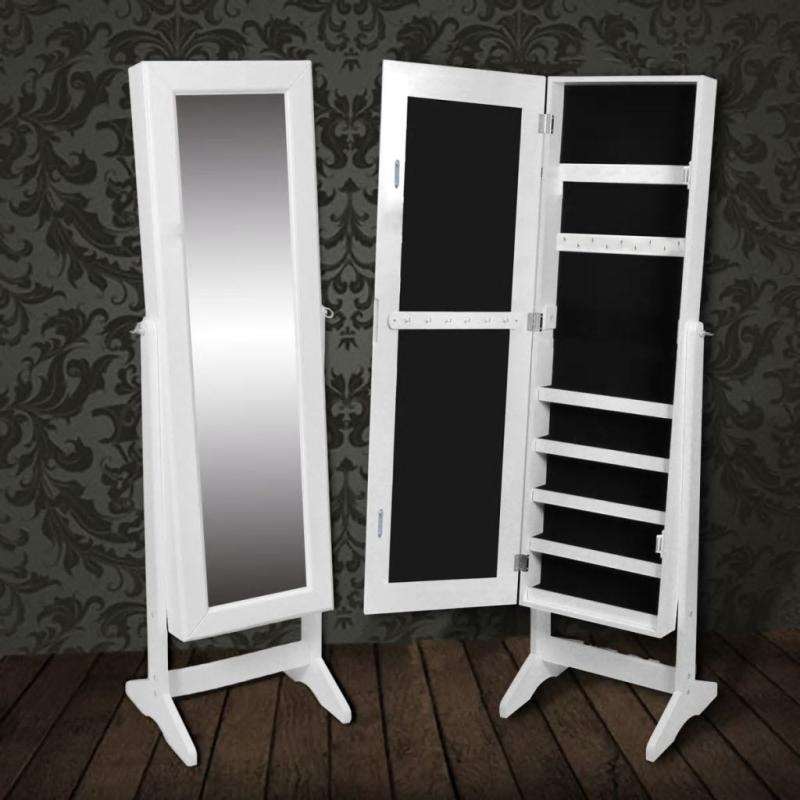 Armoire bijoux rangement miroir meuble chambre blanc for Meuble en miroir art deco