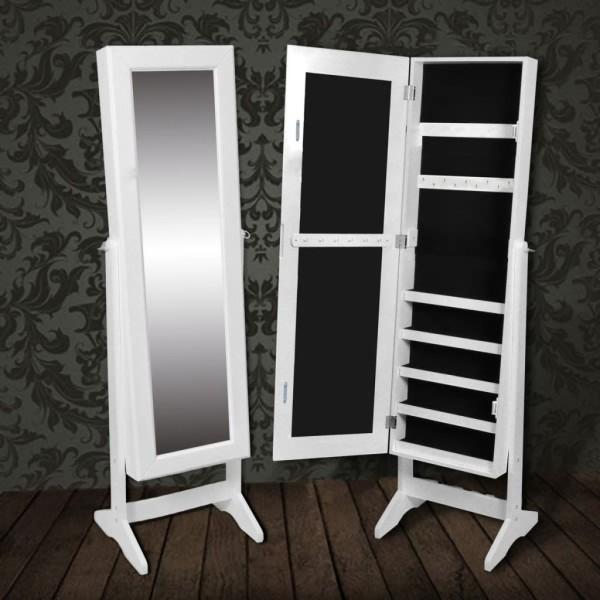 Armoire À Bijoux Rangement Miroir Meuble Chambre Blanc - Miroir ...