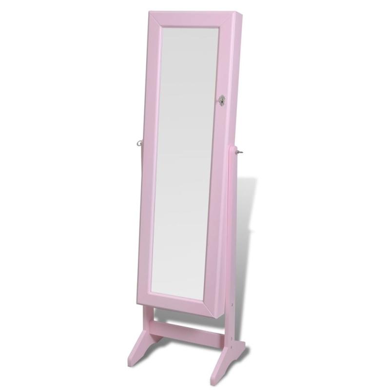 Armoire bijoux rangement miroir meuble chambre rose - Meuble pour ranger les livres ...