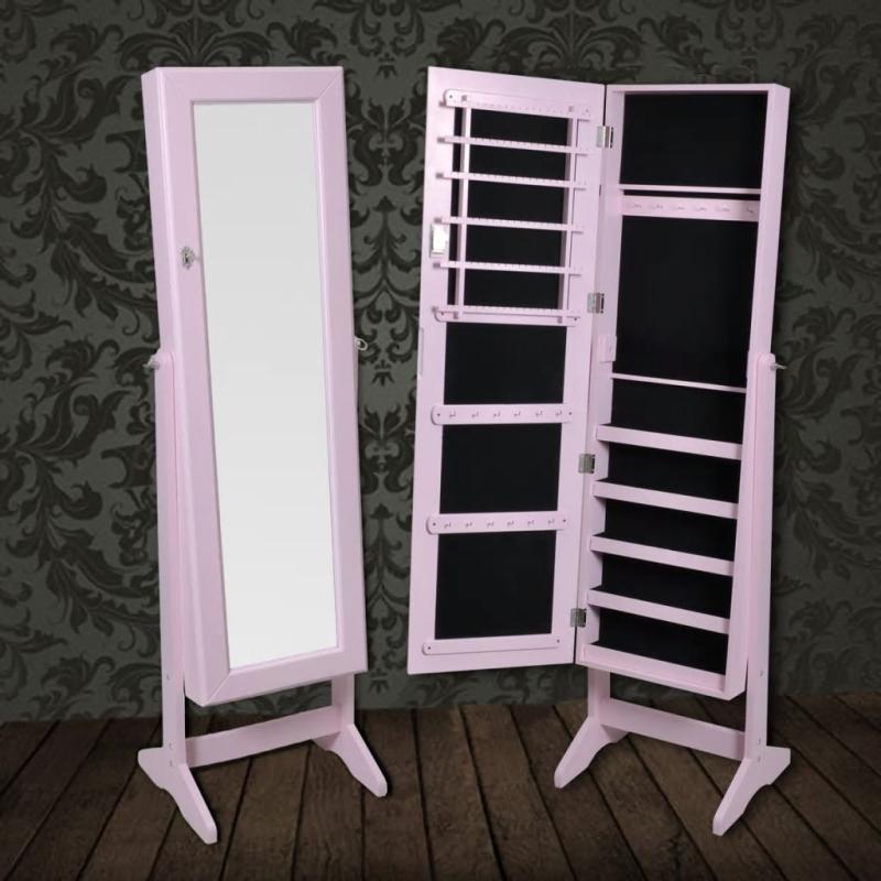 Armoire bijoux rangement miroir meuble chambre rose for Casa miroir bijoux