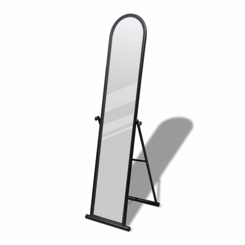 Miroir en fer sur pied noir miroir adh sif creavea for Refrigerateur beko noir miroir