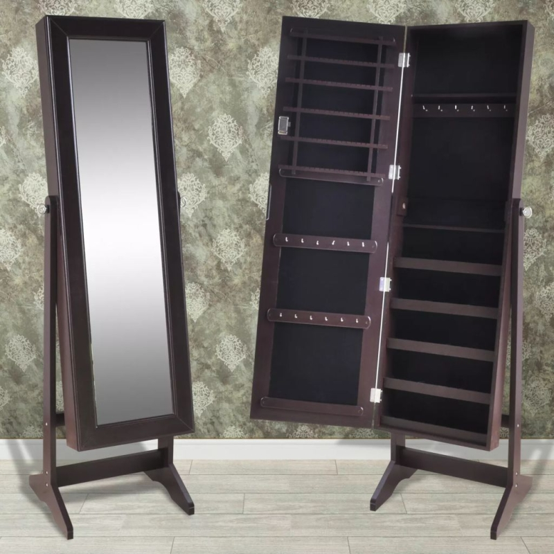 Armoire bijoux avec miroir brun miroir adh sif creavea for Miroir en mosaique