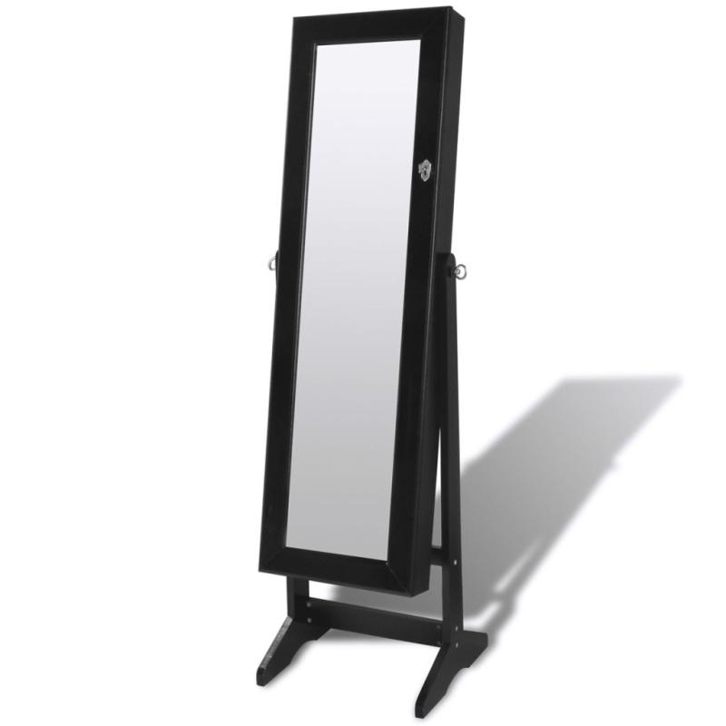 Armoire bijoux sur pied avec miroir et clairage led for Armoire noire avec miroir