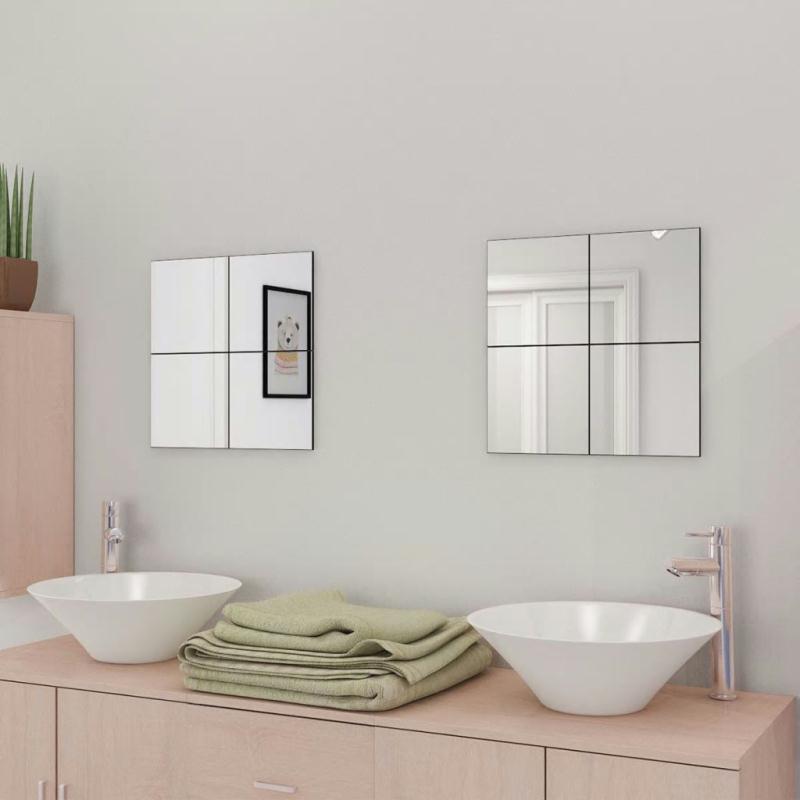 Vidaxl carreaux de miroir verre sans cadre 8 pcs 20 5 cm for Miroir pour se maquiller