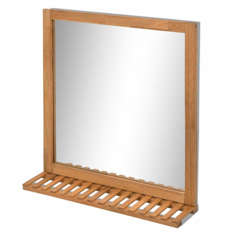 Vidaxl miroir de salle de bain bois de noyer massif 60 x 63 cm miroir adh sif creavea - Miroir salle de bain en bois ...