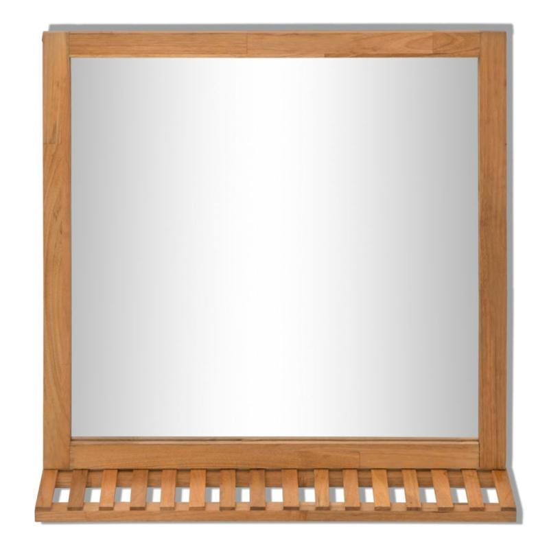 Vidaxl miroir de salle de bain bois de noyer massif 60 x for Decoration miroir salle de bain