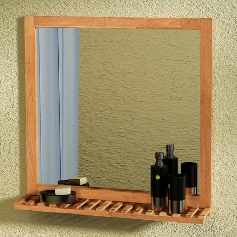 Vidaxl miroir de salle de bain bois de noyer massif 60 x for Decoration miroir design