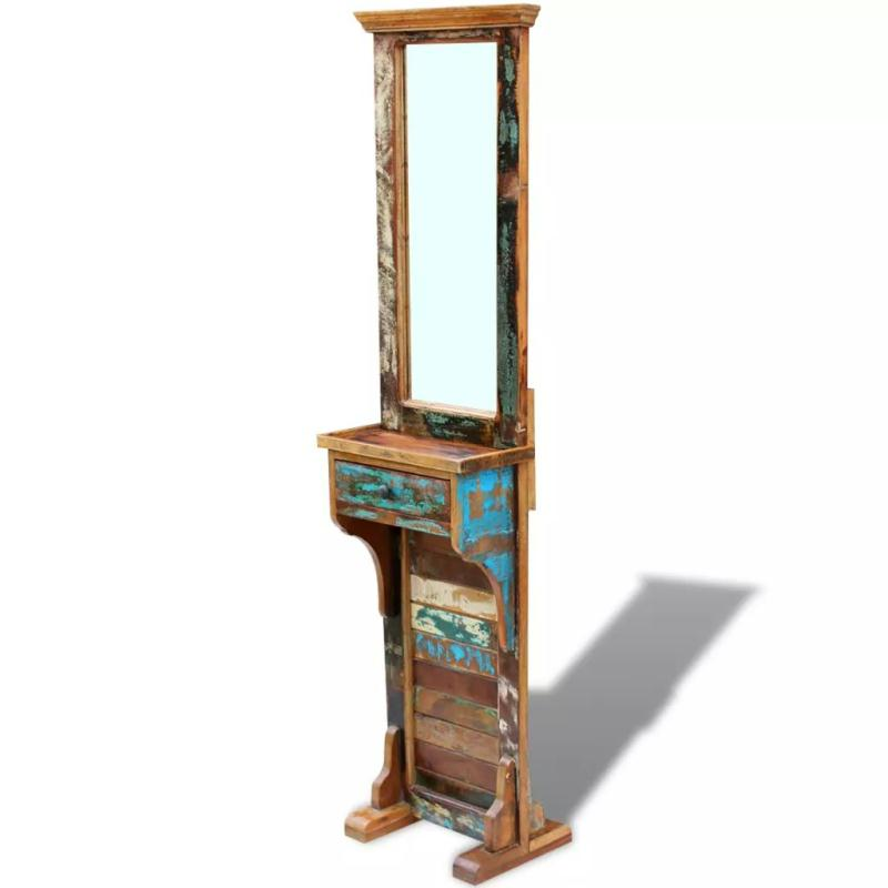 Vidaxl miroir de couloir bois de r cup ration massif 47 x for Miroir adhesif grand format