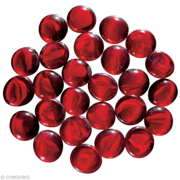 Billes plates Rouge en verre - 200g - Photo n°1