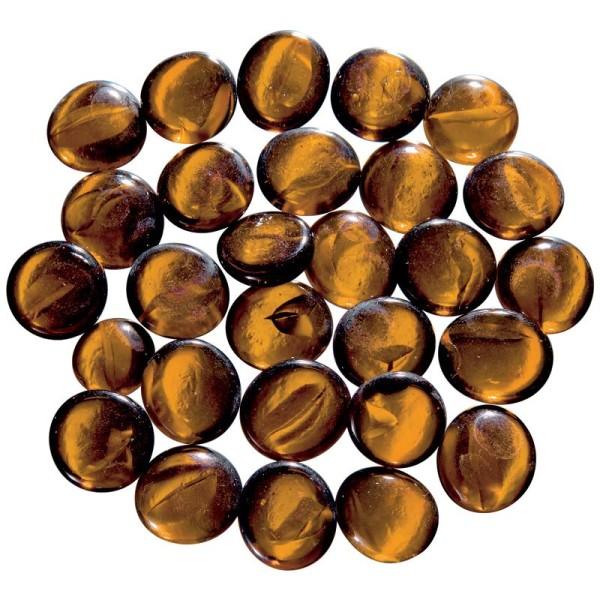 Billes plates Brun en verre - 200g - Photo n°1