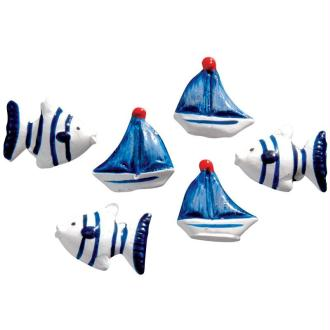 Poissons et bateaux bleus en résine x 6