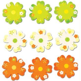 Fleur verte orange et blanche en bois x 9
