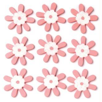 Fleur rose pailletée en bois x 9