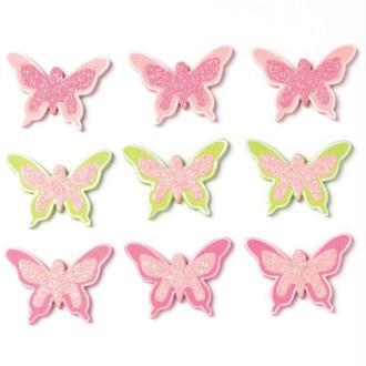 Papillon pailleté rose et vert en bois x 9