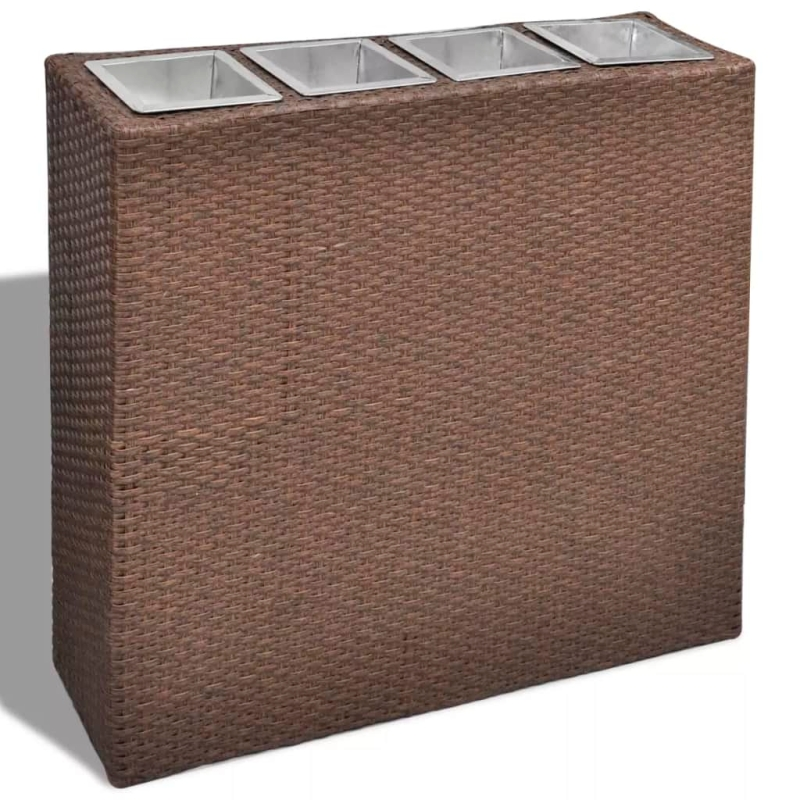 1 bac rectangle pot de fleurs en rotin marron pots et for Cache pot exterieur