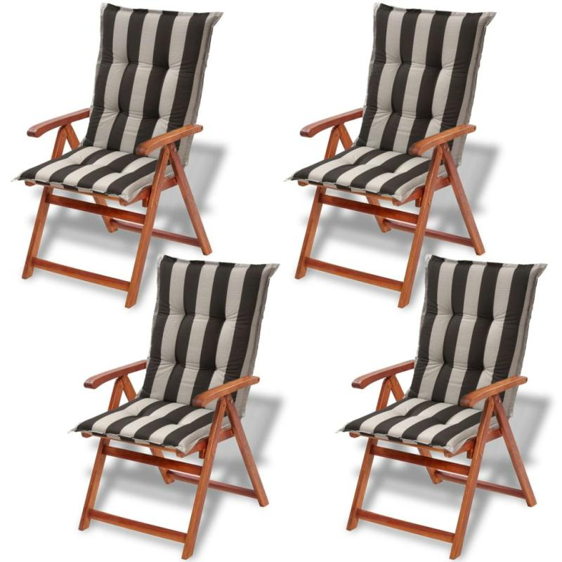 vidaxl coussins de si ge de jardin 4 pcs 120x52 cm bande. Black Bedroom Furniture Sets. Home Design Ideas
