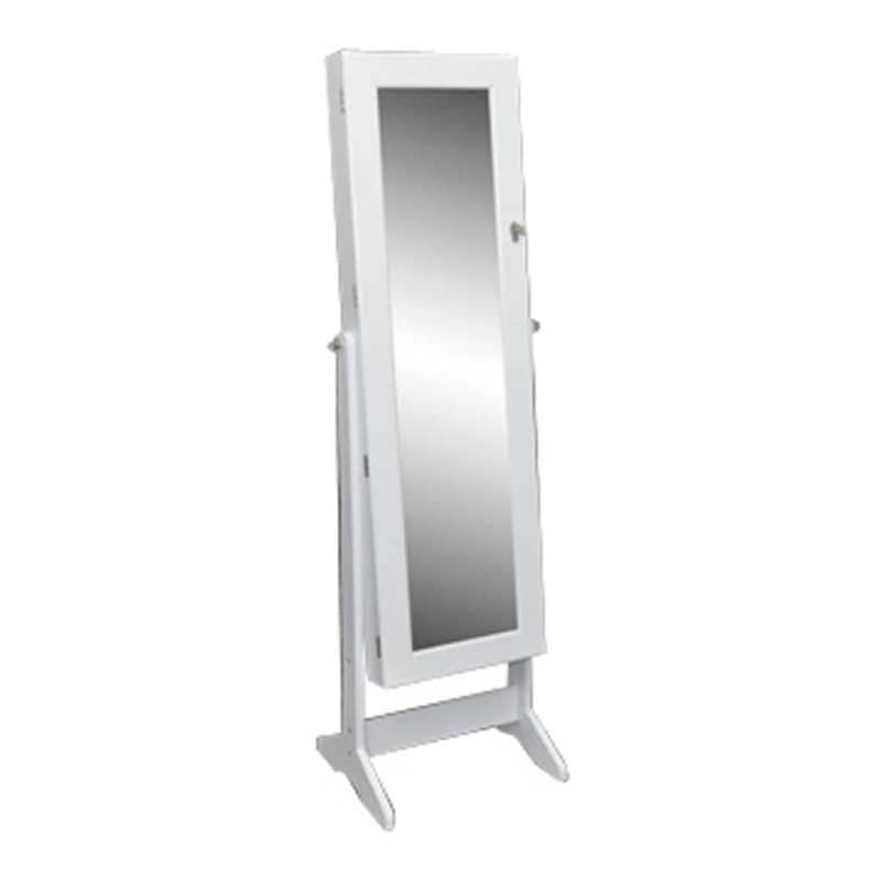 Armoire bijoux blanche sur pied avec miroir r glable for Miroir en pied ikea