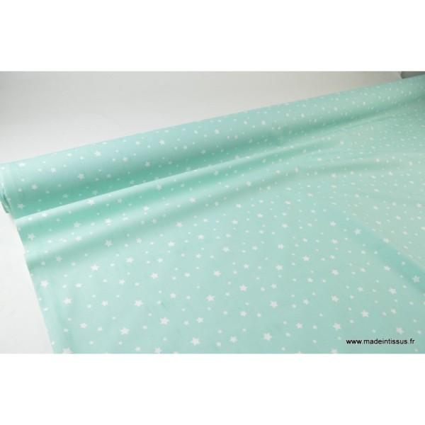 Tissu coton oeko tex imprimé étoiles Menthe - Photo n°3