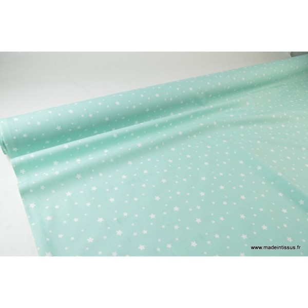 Tissu coton oeko tex imprimé étoiles MENTHE .x1m - Photo n°3
